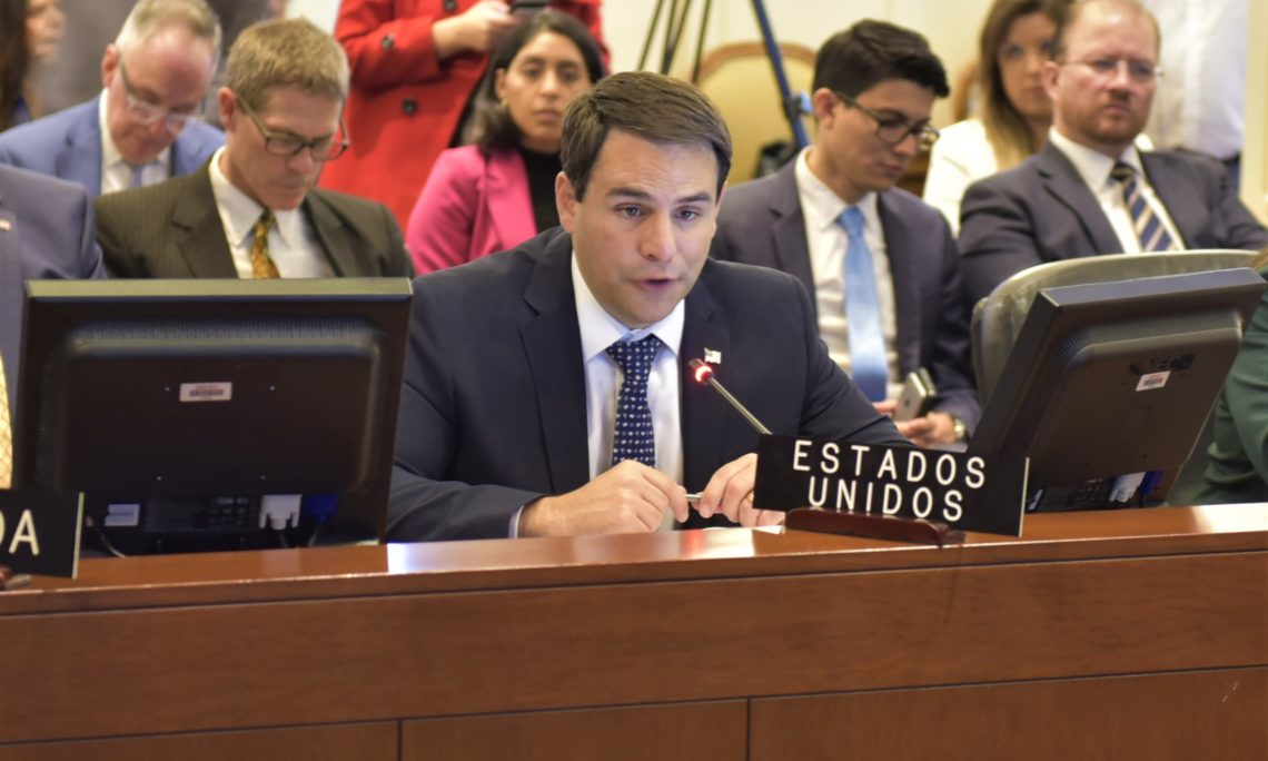 Ambassador Carlos Trujillo addresses the special session of the OAS Permanent Council on the situation in Bolivia, October 23, 2019. (OAS Photo)