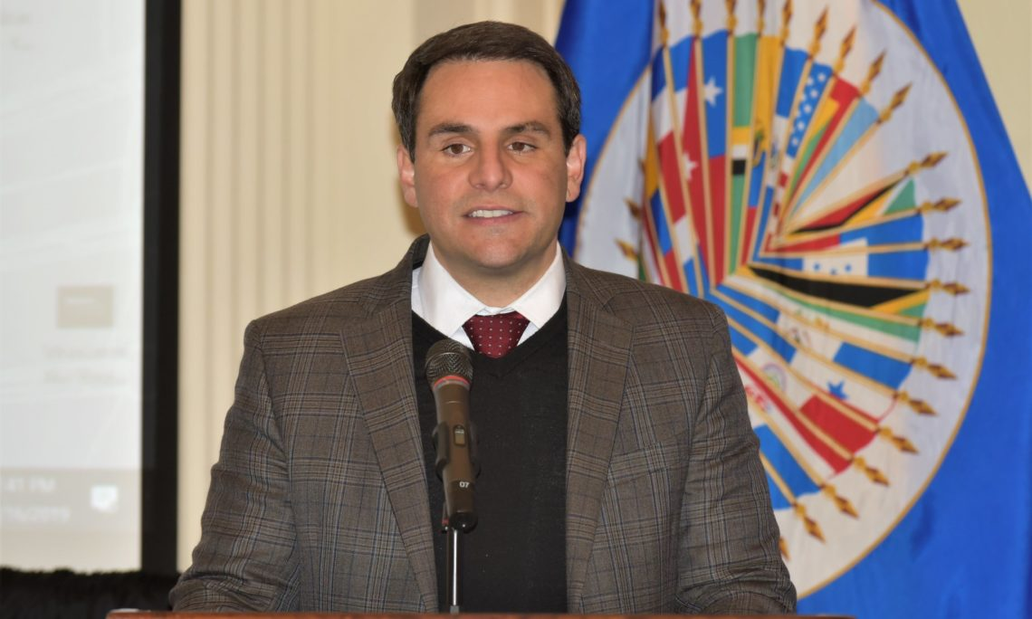 Ambassador Carlos Trujillo, Permanent Representative of the United States to the Organization of American States addresses the conference in the OAS Hall of the Americas. (OAS Photo)