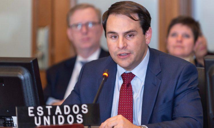 Ambassador Carlos Trujillo delivers inaugural remarks at the Permanent Council of the Organization of American States, April 20, 2018. (OAS Photo)
