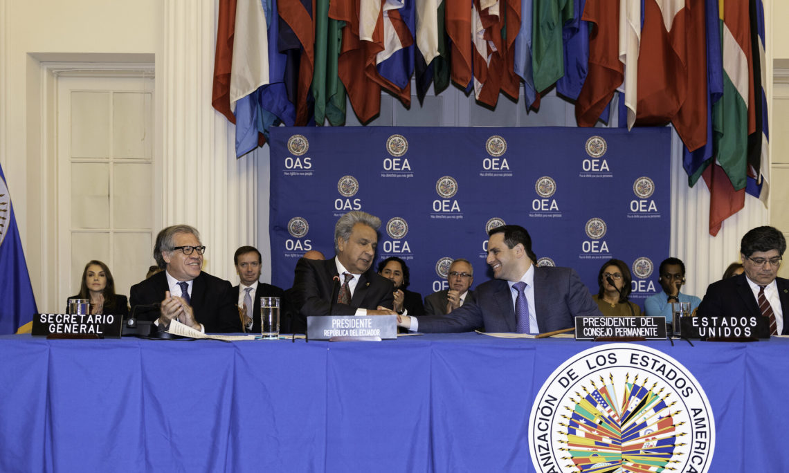 Carlos Trujillo, Chair of the OAS Permanent Council and Permanent Representative of United States welcomes President Lenin Moreno of Ecuador to the OAS for a Protocolary Session in the president's honor in the historic Hall of the Americas, April 17, 2019.