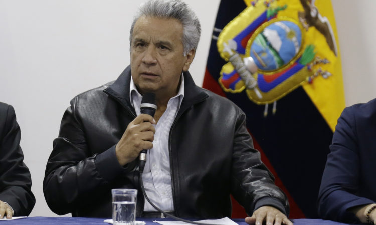 Ecuadorian President Lenin Moreno speaks during negotiations with protesters in Quito, Ecuador, Sunday, Oct. 13, 2019. (AP Photo/Fernando Vergara)