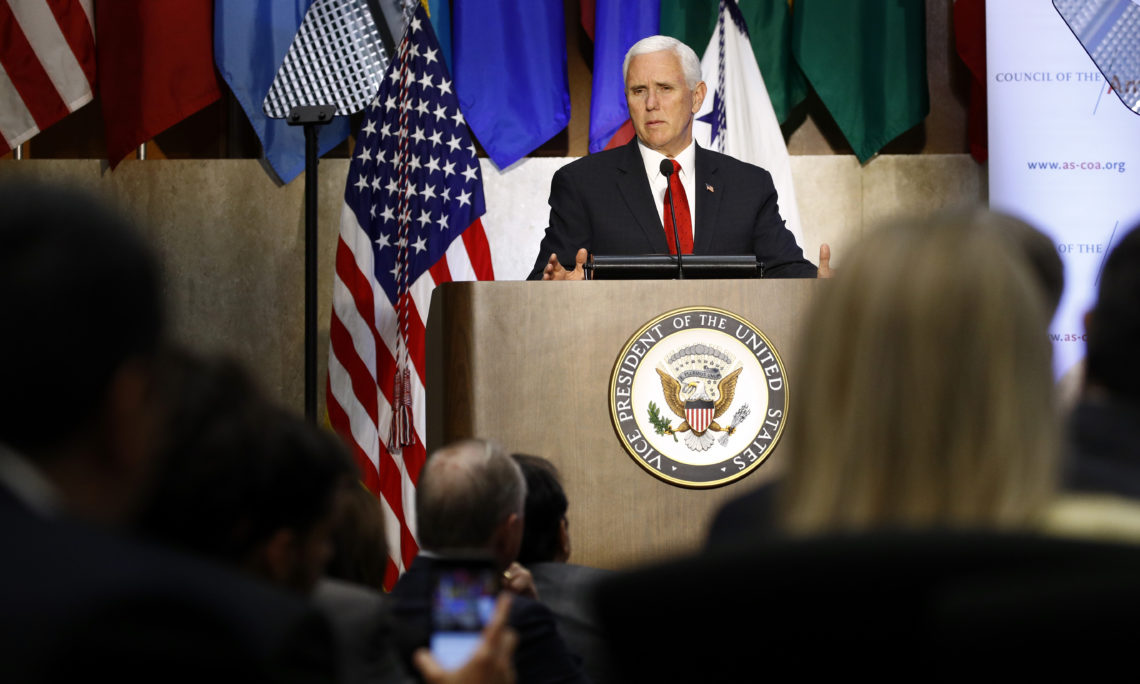 Vice President Mike Pence speaks at the 49th Washington Conference on the Americas, Tuesday, May 7, 2019, at the U.S. State Department in Washington. (AP Photo/Patrick Semansky)