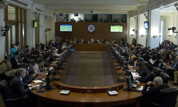 The Permanent Council of the Organization of American States meets to address the situation in Bolivia. (OAS Photo)