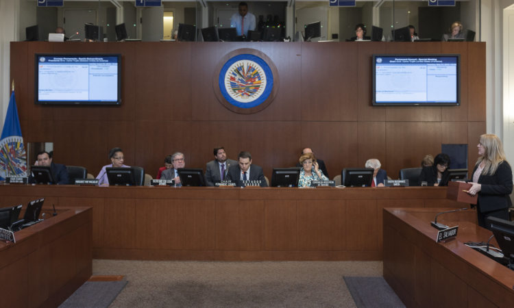 Ambassador Carlos Trujillo, Permanent Representative of the United States to the Organization of American States (OAS), presides as Chair of the OAS Permanent Council, May 21, 2019. (OAS Photo)