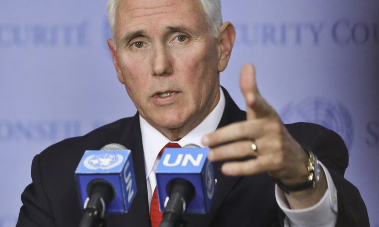 United States Vice President Mike Pence holds a news briefing after addressing the United Nations Security Council on Venezuela, Wednesday April 10, 2019 at U.N. headquarters. (AP Photo/Bebeto Matthews)