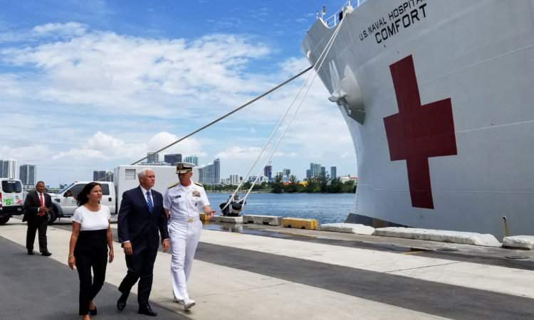 On June 18, Vice President Mike Pence and his wife, Karen Pence, toured the USNS Comfort at the Port of Miami as the ship prepares to embark on a five-month deployment to Latin America and the Caribbean to address the humanitarian crisis in Venezuela and to strengthen partnerships in the region.