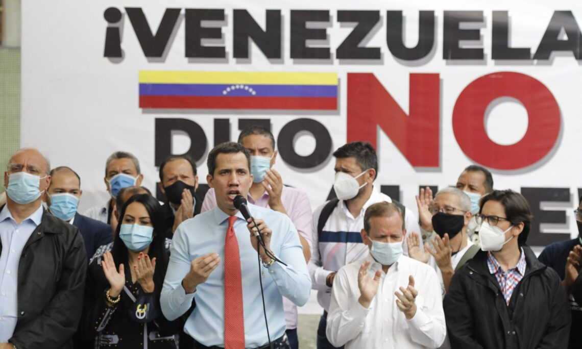 Venezuela's legitimate President Juan Guaido speaks during a press conference a day after fraudulent parliamentary elections in Venezuela, rejecting the illegitimacy of the process which did not meet democratic standards and has been denounced by the international community. (AP Photo)