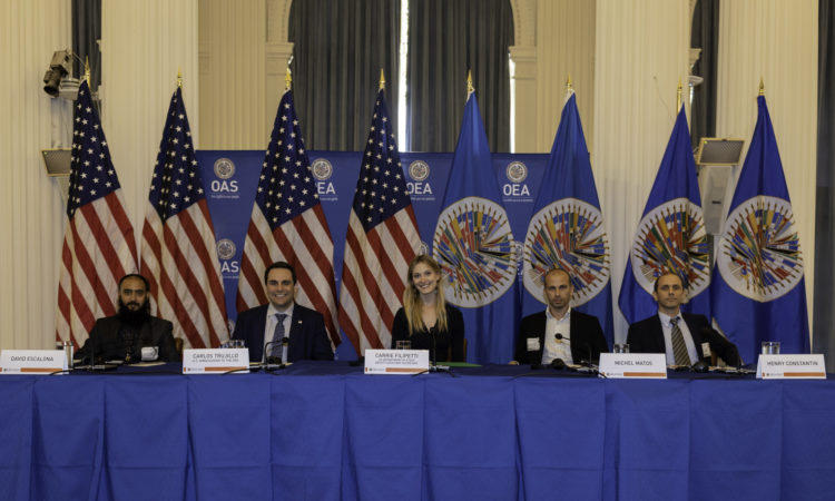 Cuban artists David Escalona, Michel Matos, and Henry Constantin are joined by Ambassador Carlos Trujillo, U.S. Permanent Representative to the OAS, and Deputy Assistant Secretary for Western Hemisphere Affairs Carrie Filipetti for the presentation on artistic freedom in Cuba, Washington, D.C.