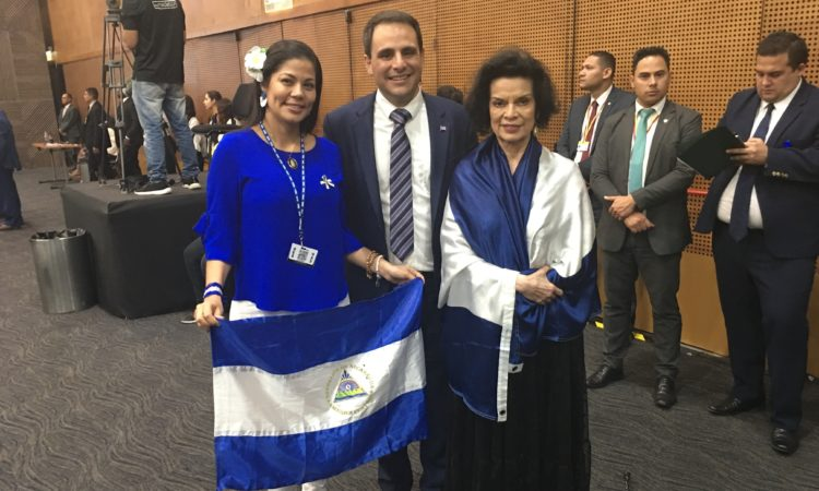 Ambassador Trujillo meets with Bianca Jagger, founder and president of the Bianca Jagger Human Rights Foundation and Irlanda Jerez, former Nicaraguan political prisoner and pro-democracy activist at the OAS General Assembly, June 27, 2019.