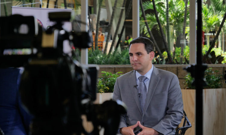 "Ambassador Trujillo speaks with ""Foro Interamericano"" of the Voice of America (VOA) during the OAS General Assembly in Medellin, Colombia, June 28, 2019."