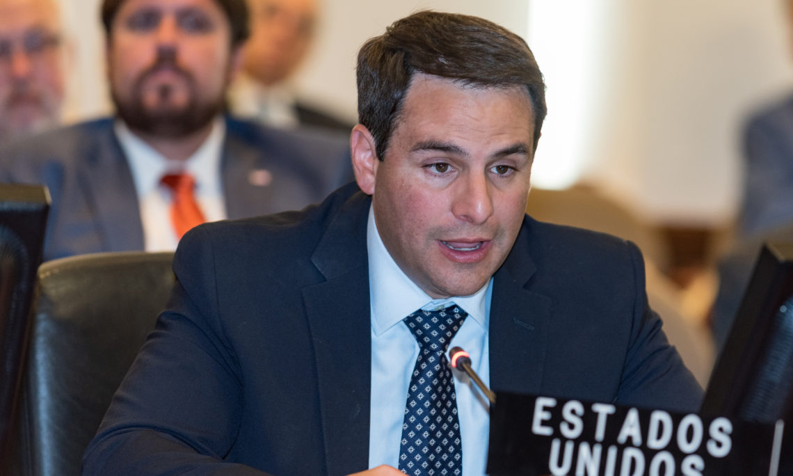 Ambassador Carlos Trujillo, Permanent Representative of the United States to the Organization of American States (OAS), addresses a special session of the Permanent Council on the electoral crisis in Bolivia, November 4, 2019.