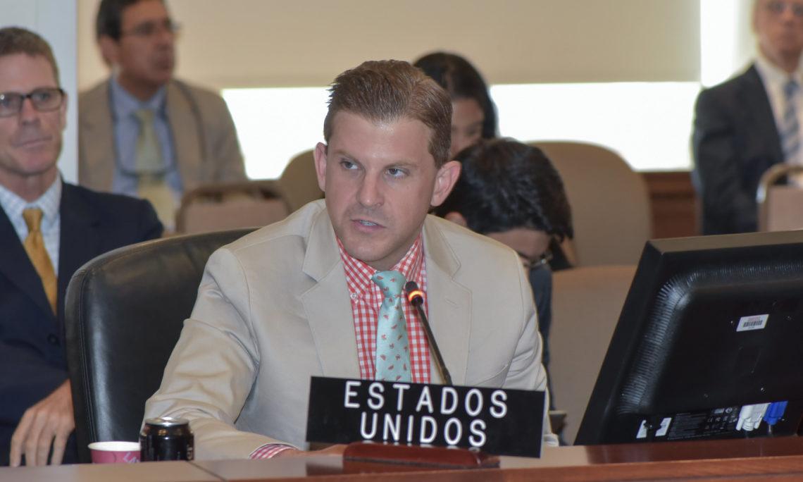 Alternate U.S. Representative Andrew Stevenson addresses the OAS Permanent Council, August 28, 2019. (OAS Photo)