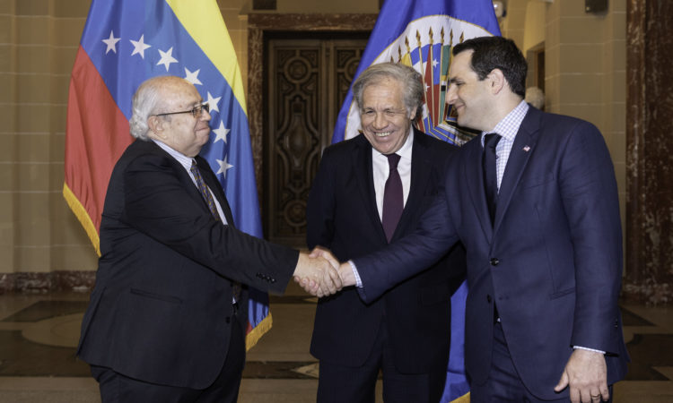 The new Permanent Representative of Venezuela to the Organization of American States (OAS), Gustavo Tarre, presents his credentials to Secretary General Almagro in a ceremony at OAS headquarters, April 10, 2019. (OAS Photo)
