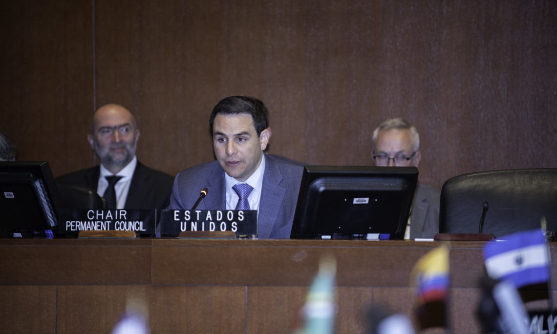 Ambassador Carlos Trujillo, Chair of the OAS Permanent Council and Permanent Representative of United States of America to the OAS presides over a Protocolary Meeting to commemorate Panamerican Day and Week, April 17, 2019.