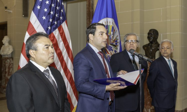 Ambassador Carlos Trujillo presents credentials as Permanent Representative of the United States to the Organization of American States, Washington, D.C., April 5, 2018.