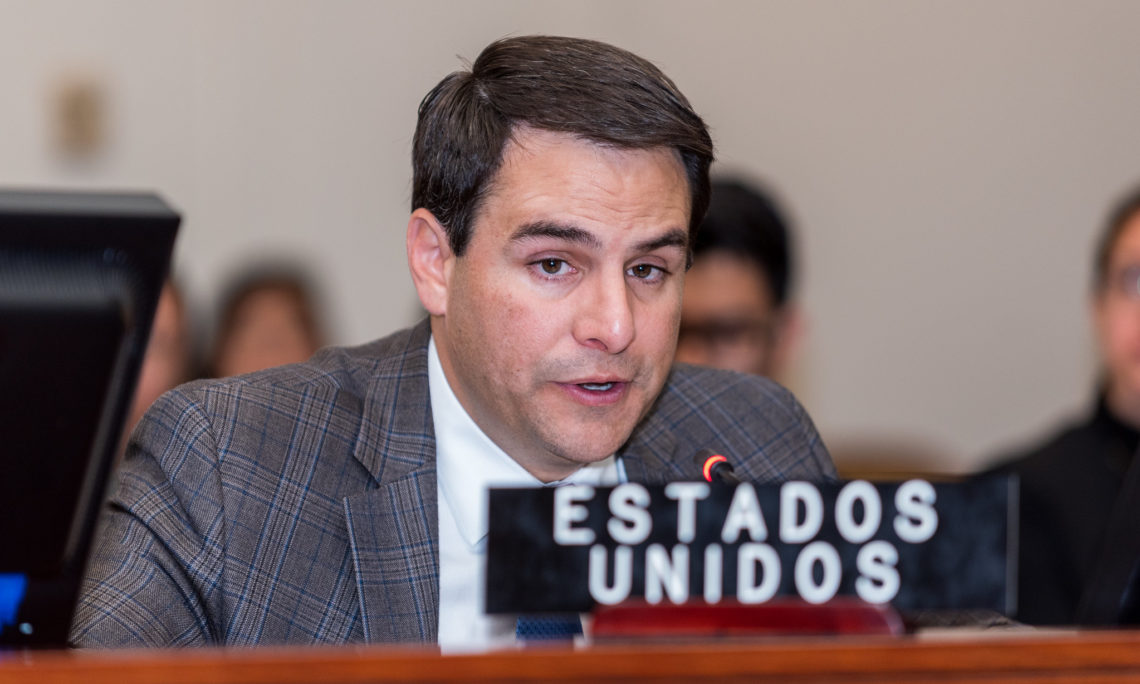 Ambassador Carlos Trujillo addresses the OAS Permanent Council announcing a new contribution from the United States to help support the full implementation of the Inter-American Convention Against Corruption, October 4, 2019. (OAS Photo)
