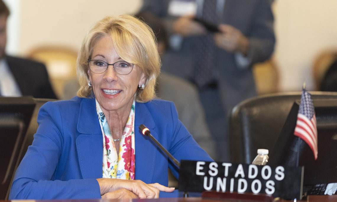 On July 8, 2019, United States Secretary of Education Betsy DeVos joined regional counterparts at the Organization of American States (OAS) to participate in the Tenth Meeting of Ministers of Education of the Americas at OAS headquarters in Washington, D.C.