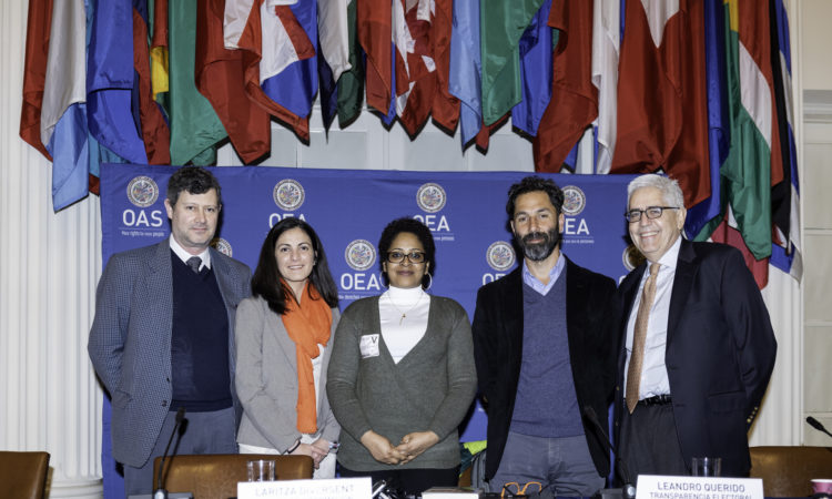From left to right: Christopher Hernandez-Roy, Advisor to the OAS Secretary General, Rosa Maria Paya, Laritza Diversent, Leandro Querido and Jaime Aparicio.