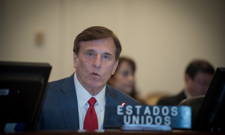 John Fleming, Assistant Secretary of Commerce for Economic Development, addresses the Inter-American Council for Development of the Organization of American States, November 14, 2019.
