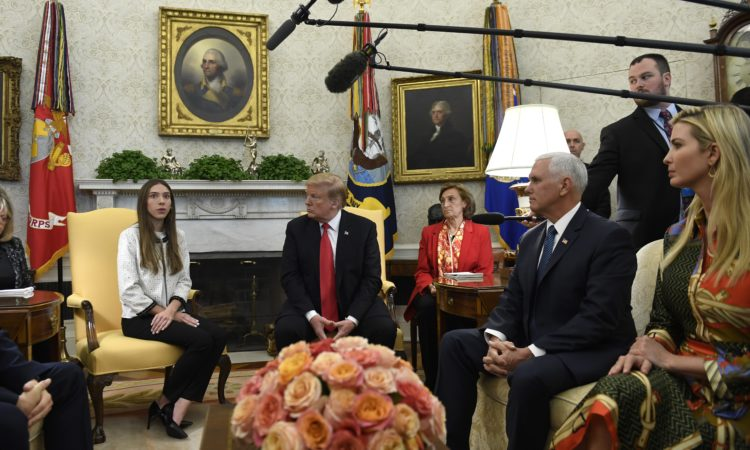 President Donald Trump, Vice President Pence and Ivanka Trump meet with Fabiana Rosales, wife of Venezuelan opposition leader and Interim President Juan Guaido at the Oval Office of the White House, Wednesday, March 27, 2019. (AP Photo/Susan Walsh)