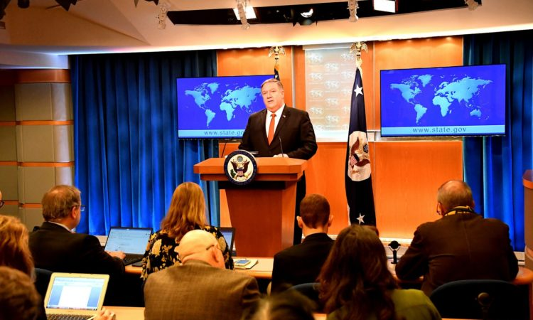 Secretary Pompeo Delivers Remarks on the Release of the 2018 Country Reports on Human Rights Practices U.S. Secretary of State Michael R. Pompeo delivers remarks on the release of the 2018 Country Reports on Human Rights Practices, in the Press Briefing Room, at the U.S. Department of State in Washington, D.C., on March 13, 2019. [State Department photo by Michael Gross/ Public Domain]