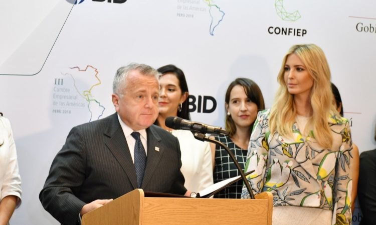 Acting Secretary of State John Sullivan flanked by Advisor to the President Ivanka Trump and Overseas Private Investment Corporation President and CEO Ray Washburne, delivers opening remarks at the Press Announcement on women's economic empowerment at the Summit of the Americas in Lima, Peru on April 13, 2018. [State Department photo/ Public Domain]