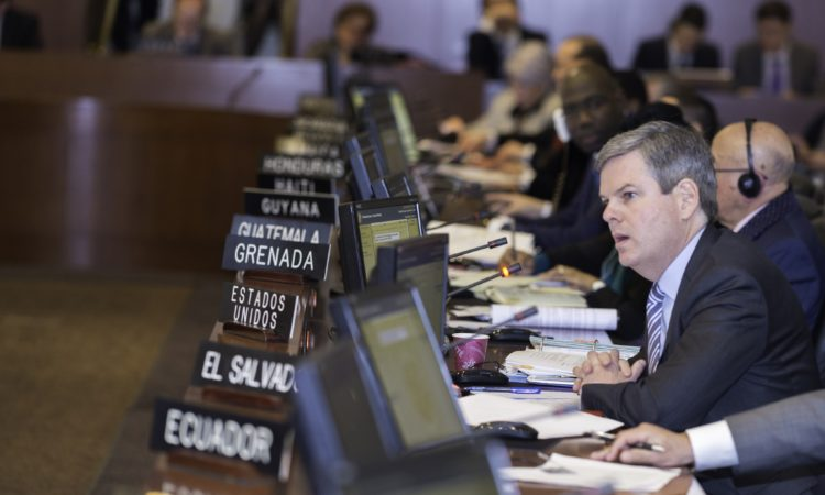 Interim Permanent Representative of the United States Kevin K. Sullivan addresses the Special Session of the Permanent Council on the situation in Venezuela, February 23, 2018. (OAS Photo)