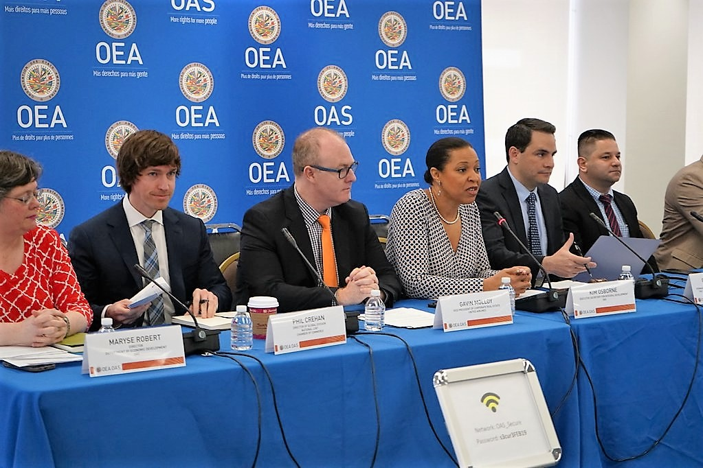 """Ambassador Carlos Trujillo addresses the conference - """"Roundtable on Economic Prosperity for All: Tourism and the LGBTI Community"""", at OAS headquarters in Washington, D.C., April 5, 2019. (OAS Photo)"""