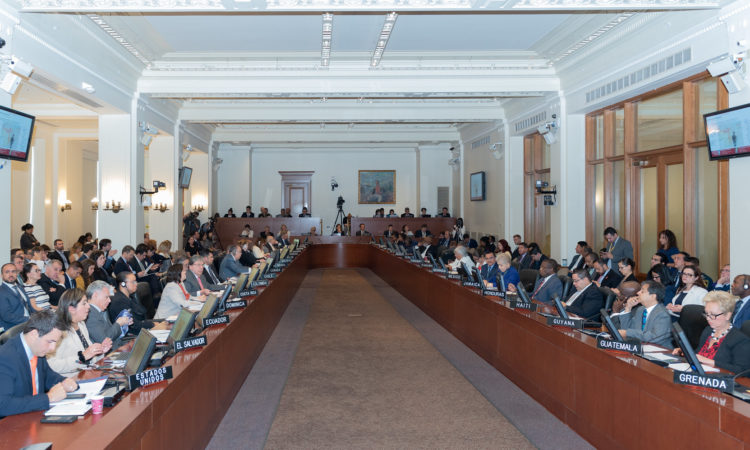 The OAS Permanent Council adopted a resolution condemning the lifting of the parliamentary immunity of deputies of Venezuela's National Assembly during its meeting on September 11, 2019. (OAS Photo)