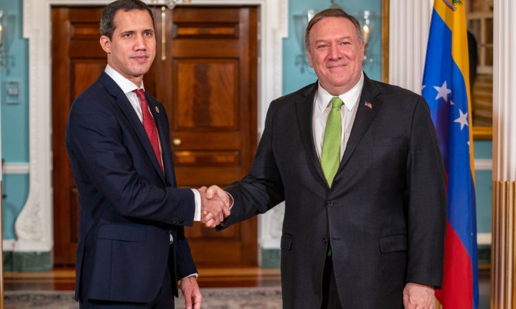 Secretary of State Michael R. Pompeo meets with Interim President of the Bolivarian Republic of Venezuela Juan Guaidó, at the Department of State in Washington, D.C., on February 6, 2020. [State Department Photo by Ron Przysucha]