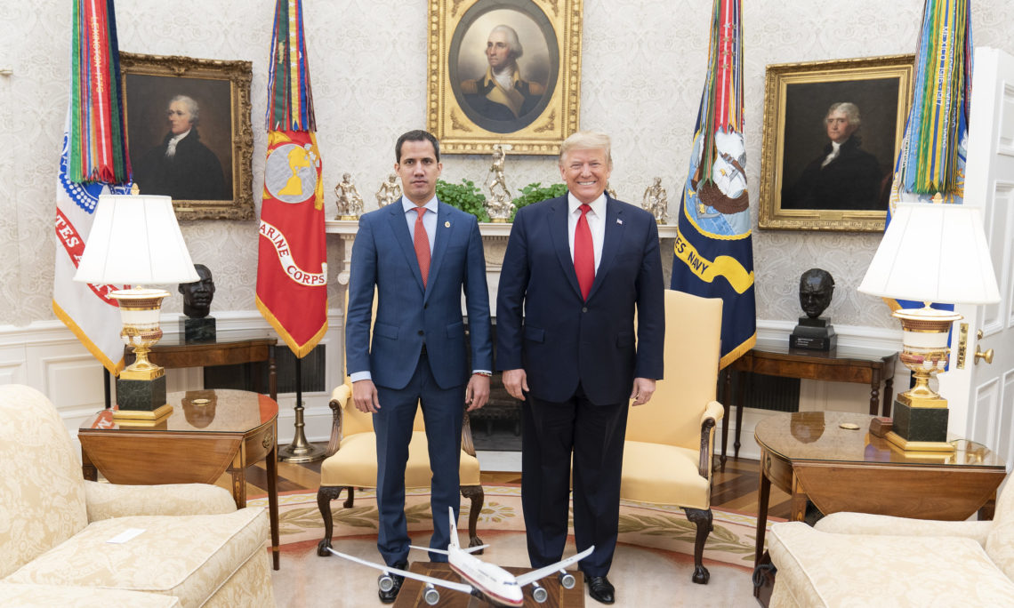 President Donald J. Trump meets with Interim President of the Bolivarian Republic of Venezuela Juan Guaido Wednesday, Feb. 5, 2020, in the Oval Office of the White House. (Official White House Photo by Shealah Craighead)