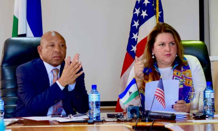 Ambassador Rebecca Gonzalez and the Minister of Finance Moeketsi Majoro
