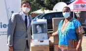 """Chargé d'Affaires Clinton """"Tad"""" Brown and Dr. Lucy Mapota-Masoabi during the Oxygen Concentrators handover at Berea Hospital"""
