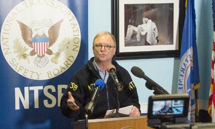 Man speaking to media (NTSB)