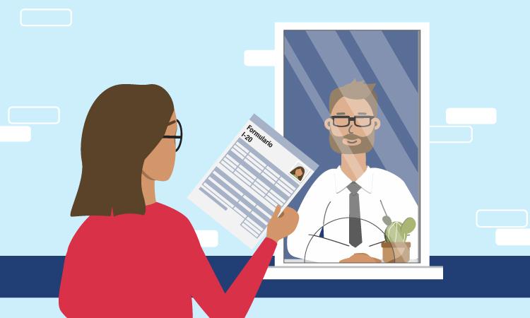 Una mujer presenta un documento a un hombre a través de una ventanilla.