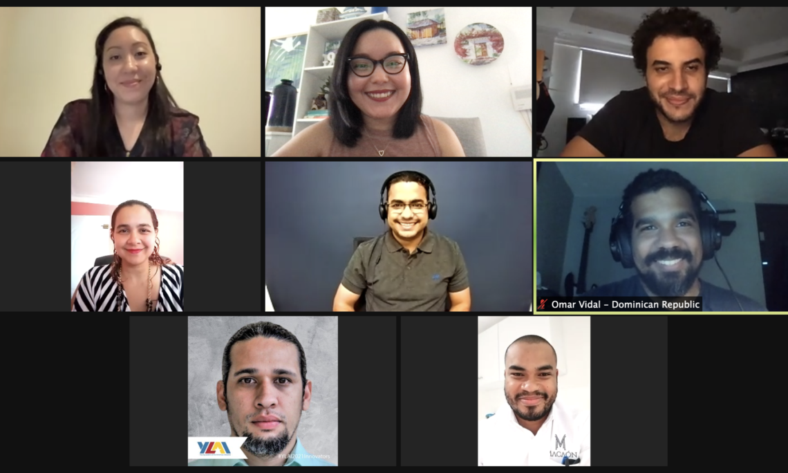 A group of young people on a videocall.