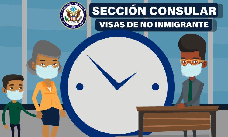 caricatura de señora con su hijo y un reloj en la sección consular visas no inmigrante