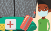 man with mask, suitcase and first aid kit in the background