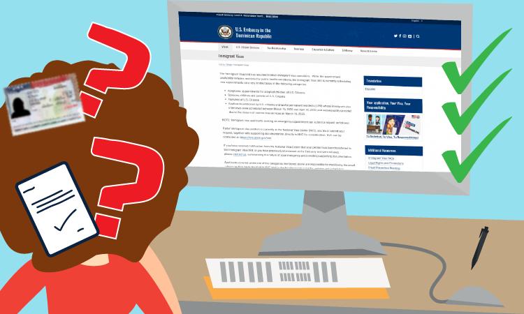 caricatura que incluye una persona con signos de interrogación frente a una computadora con la página web de la embajada