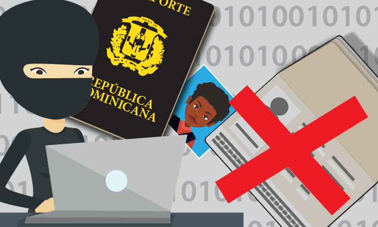 robber accesing a computer, passport, photo and visa with an X on it.