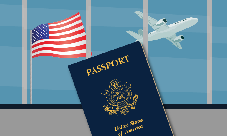 image of passport, american flag and a plane