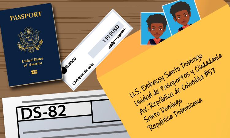 passport form, passport, photos, coffee and envelope