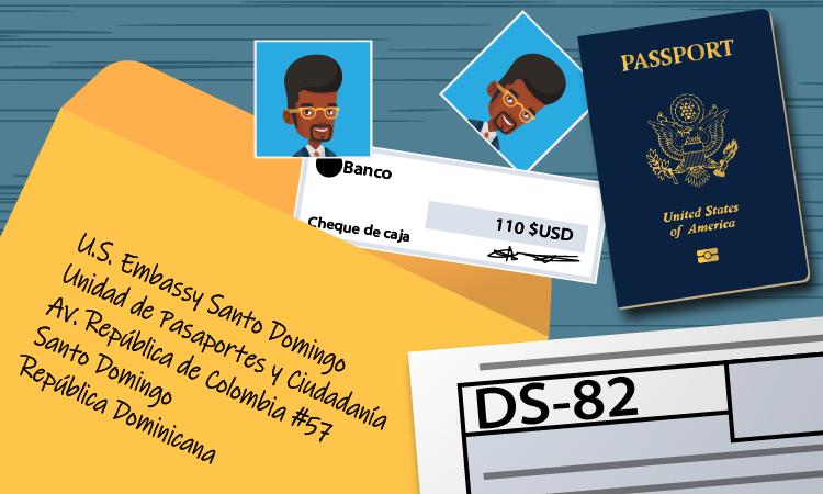 caricatura con sobre y dirección de la embajada, pasaporte y formulario