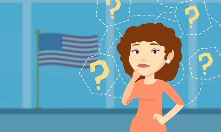 Una mujer rodeada de signos de interrogación,, con una expresión de duda. A su lado, una bandera de los Estados Unidos.