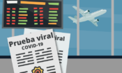 ilustracion con documento que dice prueba viral y detrás pantalla de registro de vuelos con un avión partiendo
