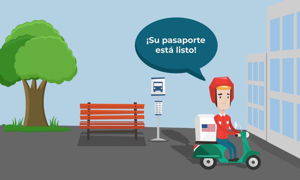 """Un hombre montado en una motocicleta llega a una oficina. El hombre dice """"¡su pasaporte está listo!"""""""