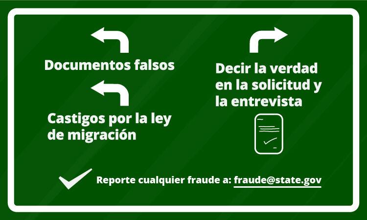 senal de transito con flechas y texto relacionado al fraude de visas.
