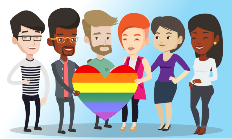 Three men and three women smiling,. Four of them hold a heart with the colors of the LGBTI flag.