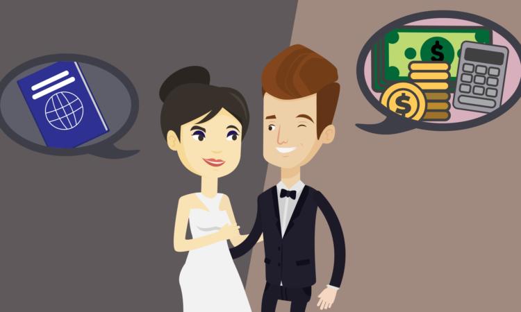 Una ilustración de un hombre y una mujer con atuendo de boda, y nubes de diálogo que incluyen imágenes de pasaportes y dinero.