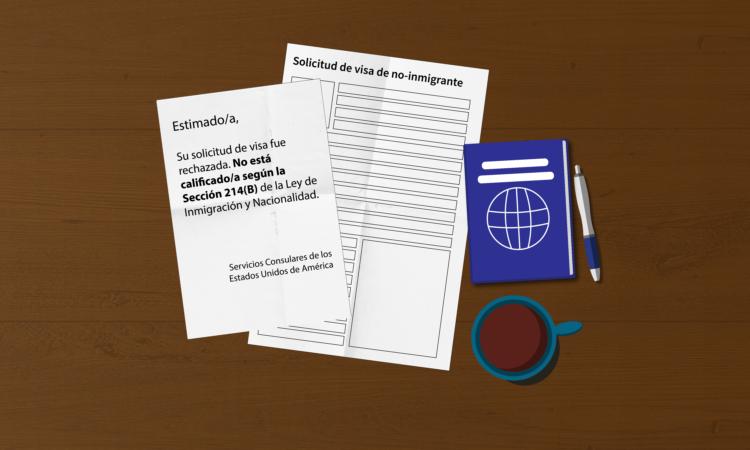 Una imagen de una solicitud de visa rechazada, junto con una carta de rechazo, un pasaporte, un lapicero y un café.